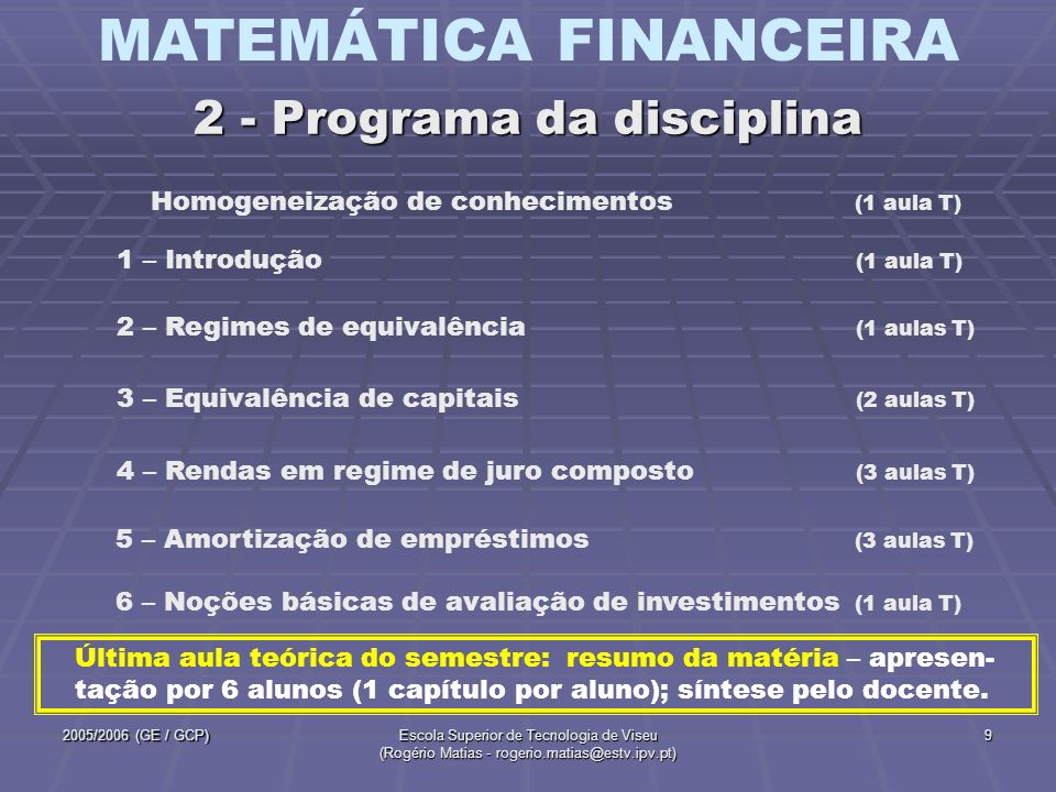 2 - Programa da disciplina