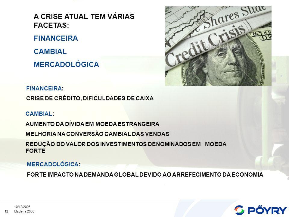 A CRISE ATUAL TEM VÁRIAS FACETAS: FINANCEIRA CAMBIAL MERCADOLÓGICA