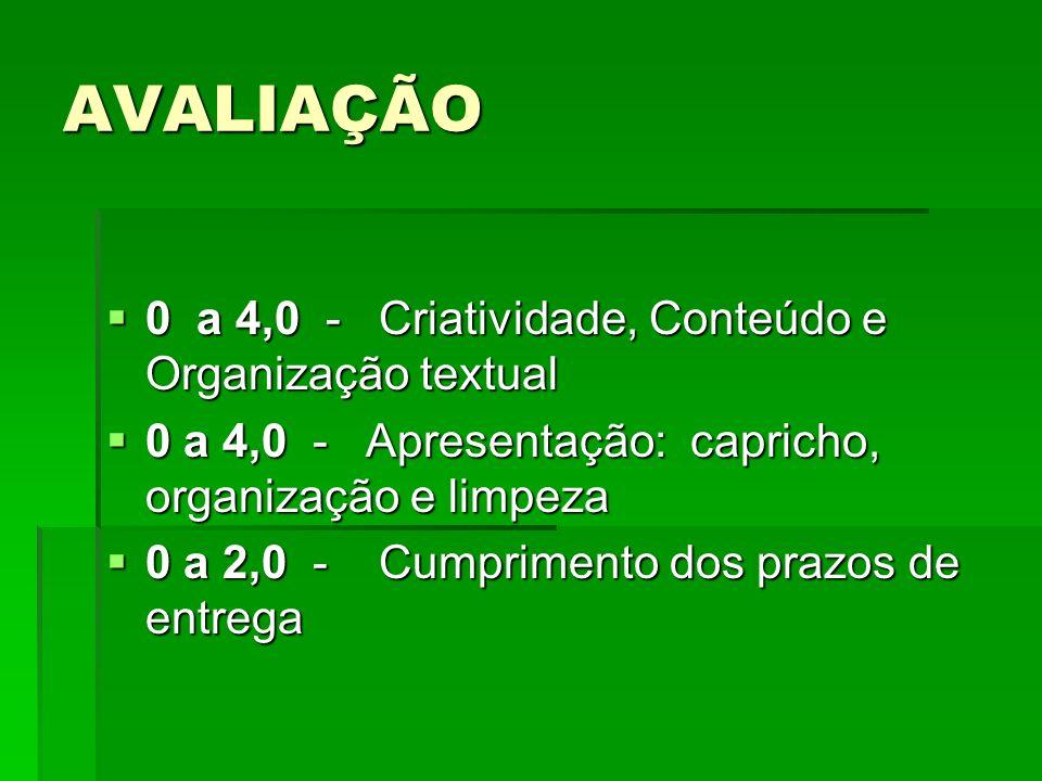 AVALIAÇÃO 0 a 4,0 - Criatividade, Conteúdo e Organização textual