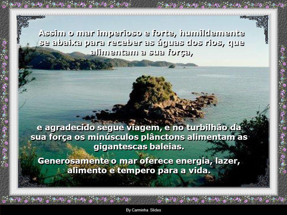 Assim o mar imperioso e forte, humildemente se abaixa para receber as águas dos rios, que alimentam a sua força,