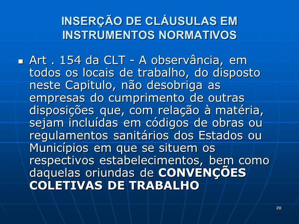 INSERÇÃO DE CLÁUSULAS EM INSTRUMENTOS NORMATIVOS