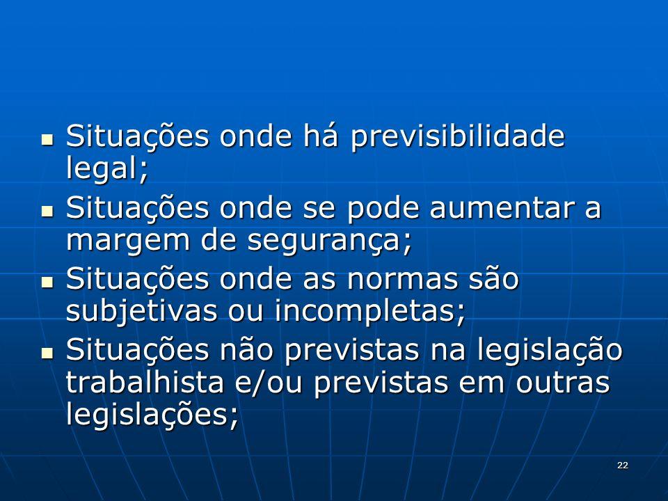 Situações onde há previsibilidade legal;