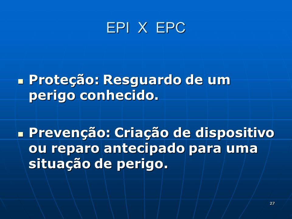 EPI X EPC Proteção: Resguardo de um perigo conhecido.