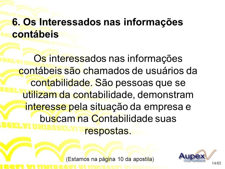 6. Os Interessados nas informações contábeis