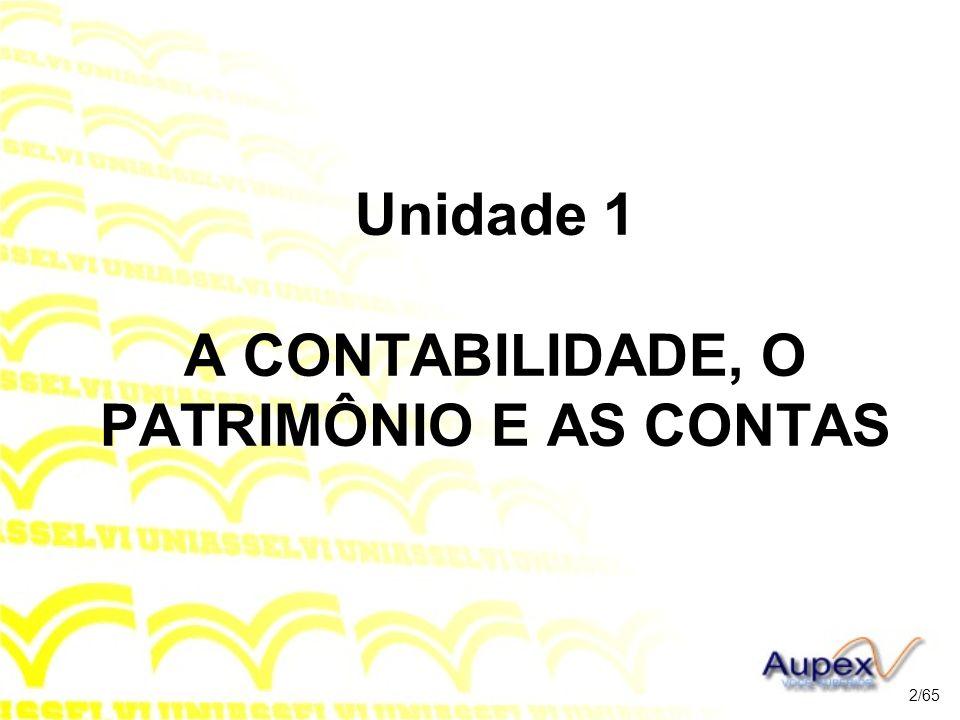 Unidade 1 A CONTABILIDADE, O PATRIMÔNIO E AS CONTAS