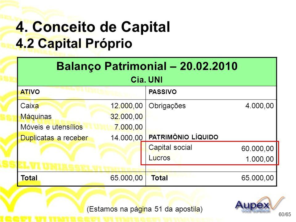 4. Conceito de Capital 4.2 Capital Próprio