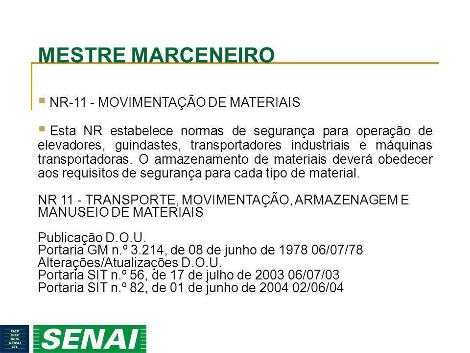 MESTRE MARCENEIRO NR-11 - MOVIMENTAÇÃO DE MATERIAIS
