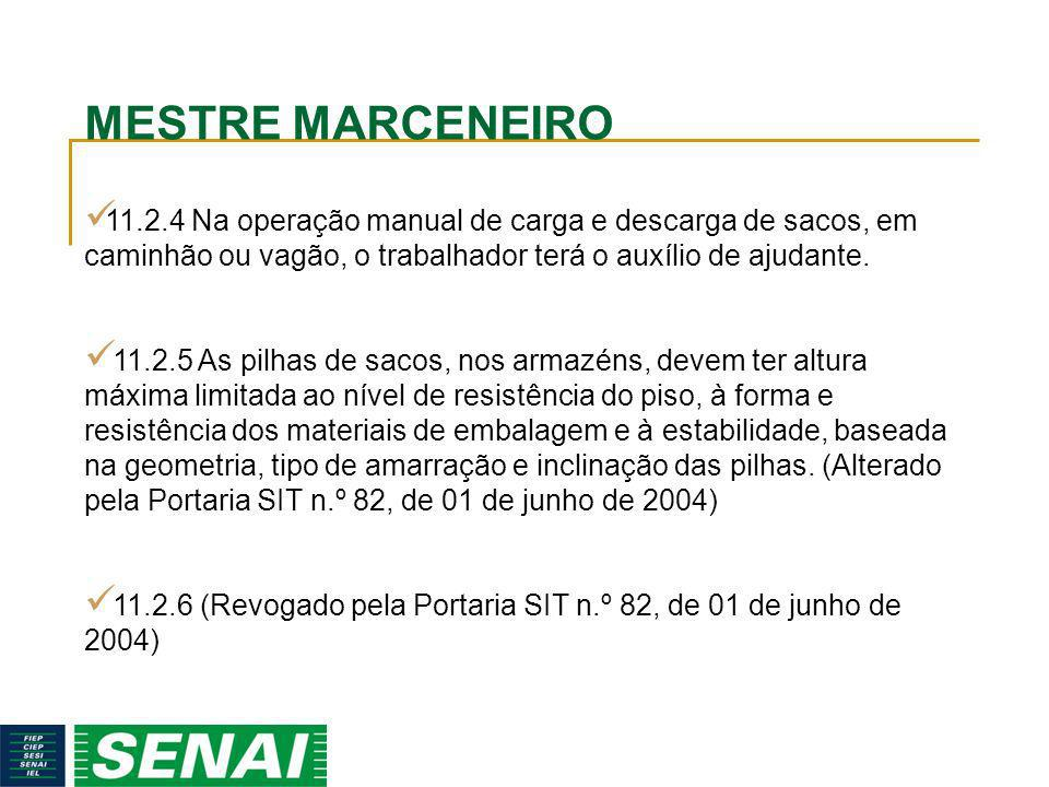 MESTRE MARCENEIRO 11.2.4 Na operação manual de carga e descarga de sacos, em caminhão ou vagão, o trabalhador terá o auxílio de ajudante.