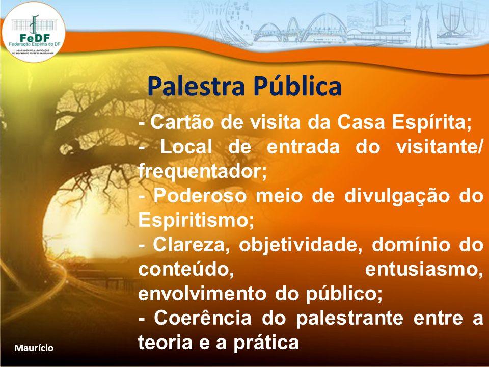 Palestra Pública - Cartão de visita da Casa Espírita;