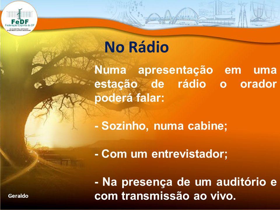 No Rádio Numa apresentação em uma estação de rádio o orador poderá falar: - Sozinho, numa cabine; - Com um entrevistador;