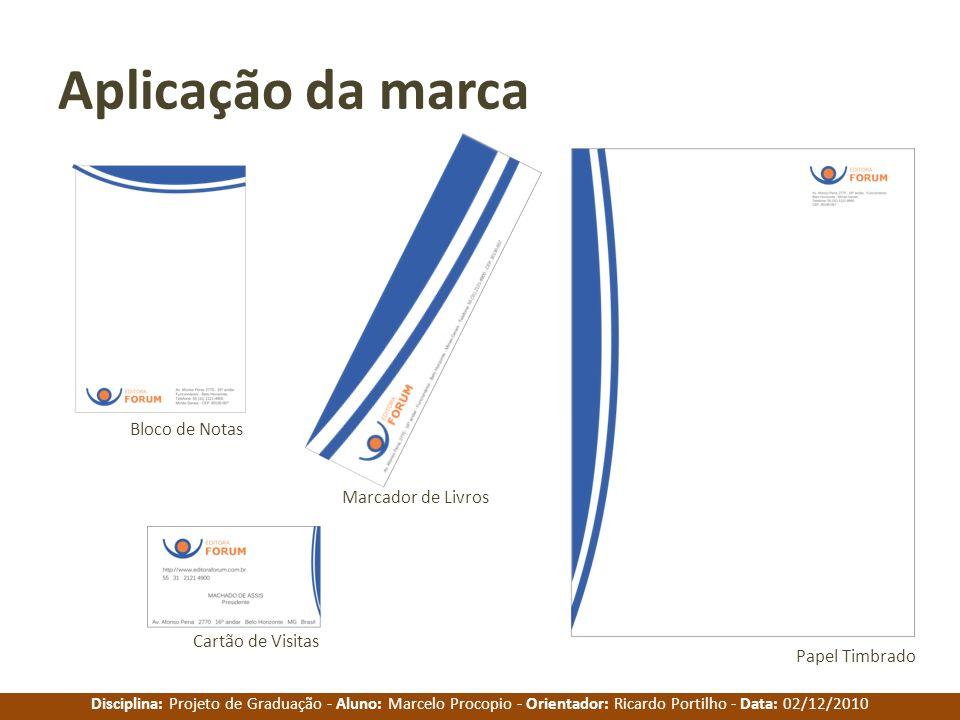 Aplicação da marca Bloco de Notas Marcador de Livros Cartão de Visitas