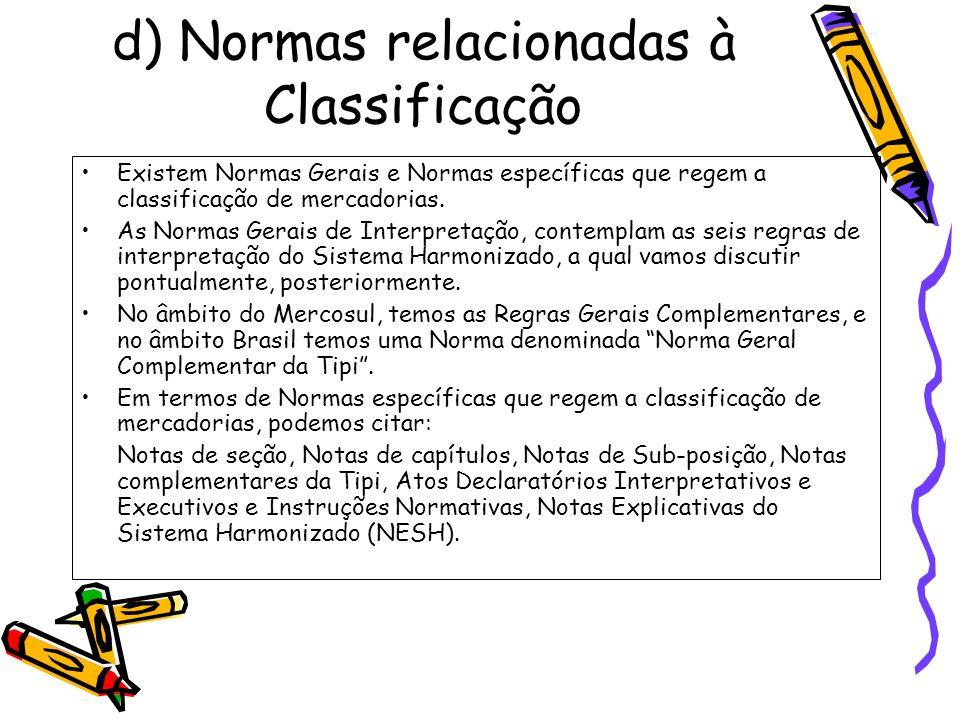 d) Normas relacionadas à Classificação
