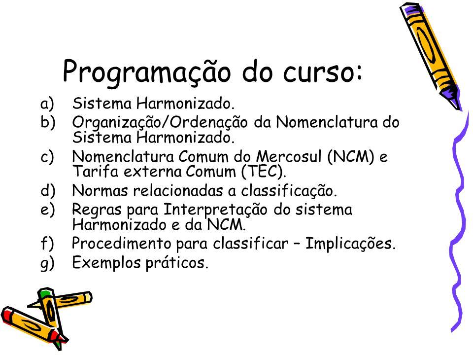 Programação do curso: Sistema Harmonizado.
