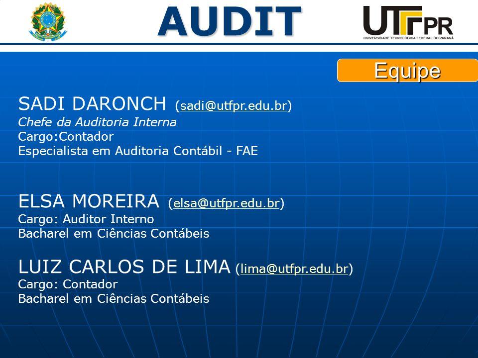 Equipe SADI DARONCH (sadi@utfpr.edu.br) Chefe da Auditoria Interna Cargo:Contador Especialista em Auditoria Contábil - FAE.