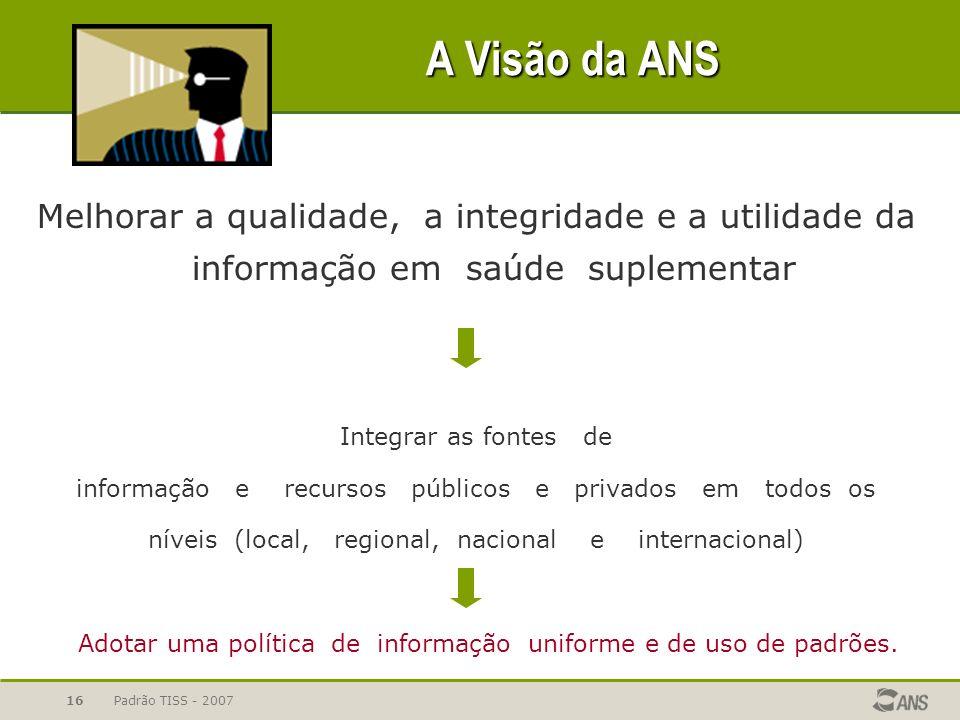 A Visão da ANS Melhorar a qualidade, a integridade e a utilidade da informação em saúde suplementar.