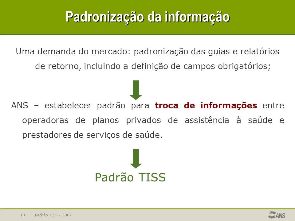 Padronização da informação