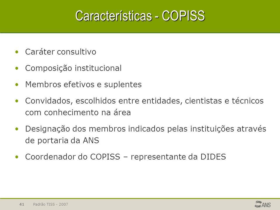 Características - COPISS