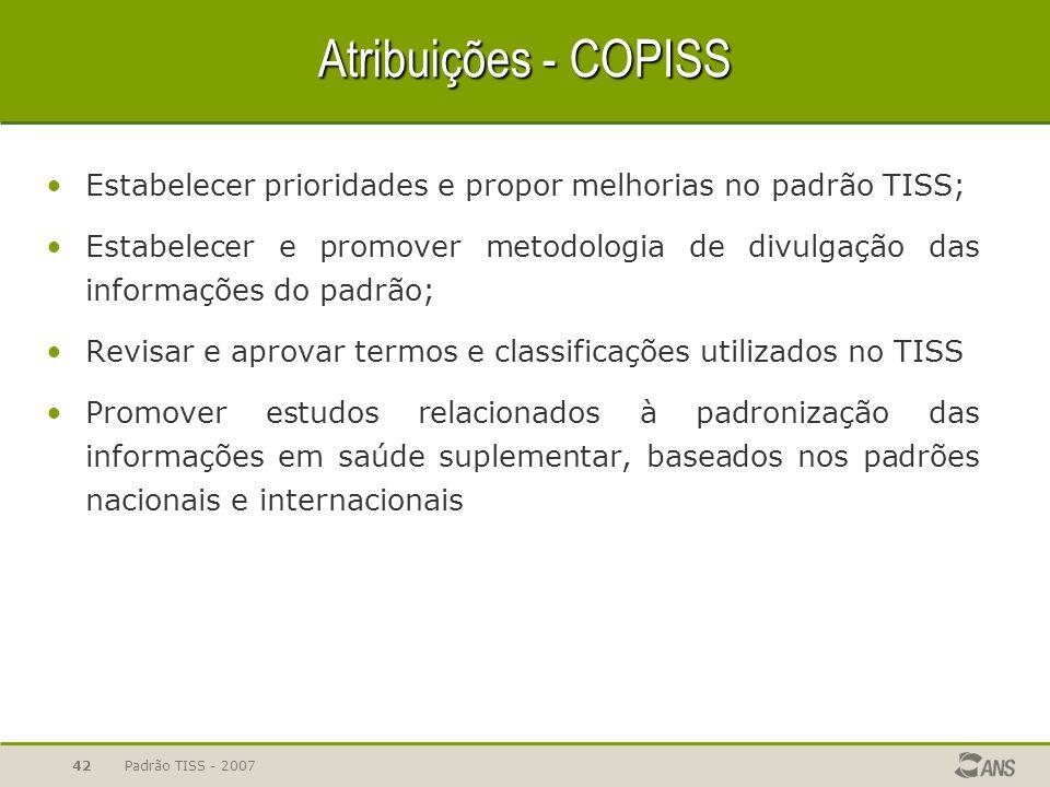 Atribuições - COPISS Estabelecer prioridades e propor melhorias no padrão TISS;