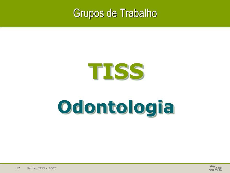 Grupos de Trabalho TISS Odontologia Padrão TISS - 2007