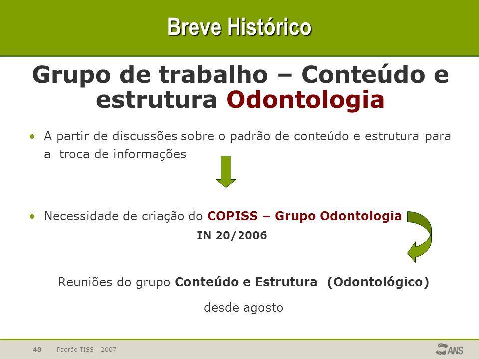 Breve Histórico Grupo de trabalho – Conteúdo e estrutura Odontologia