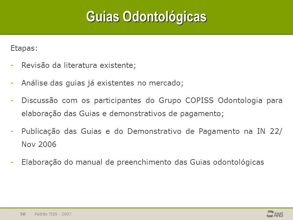 Guias Odontológicas Etapas: Revisão da literatura existente;