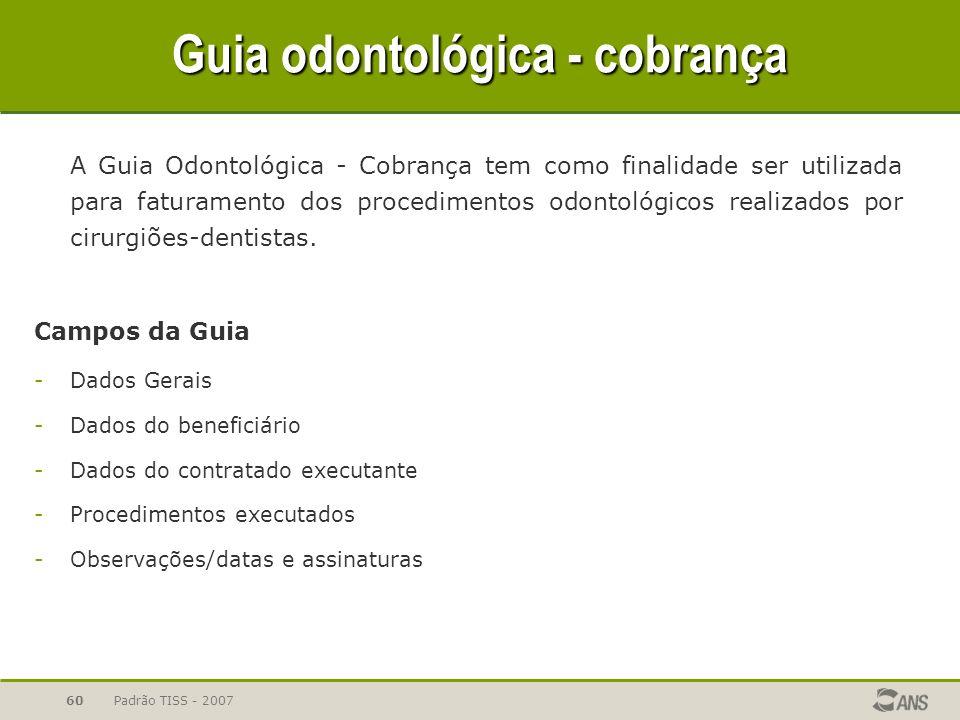 Guia odontológica - cobrança