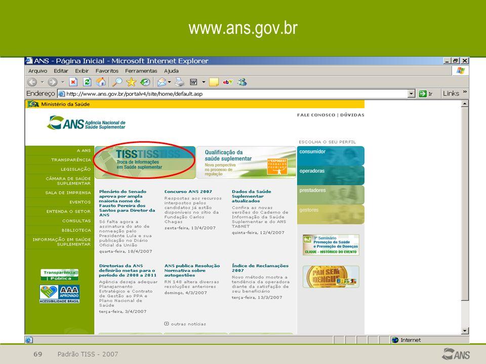 www.ans.gov.br Padrão TISS - 2007