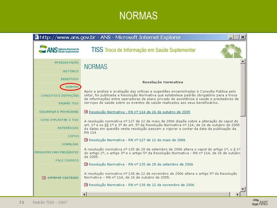 NORMAS Padrão TISS - 2007