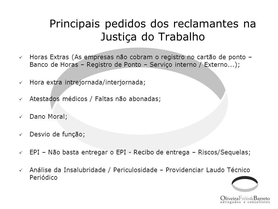 Principais pedidos dos reclamantes na Justiça do Trabalho