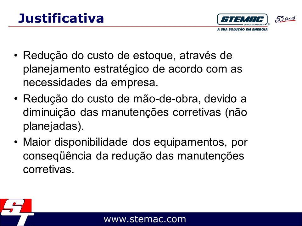 Justificativa Redução do custo de estoque, através de planejamento estratégico de acordo com as necessidades da empresa.