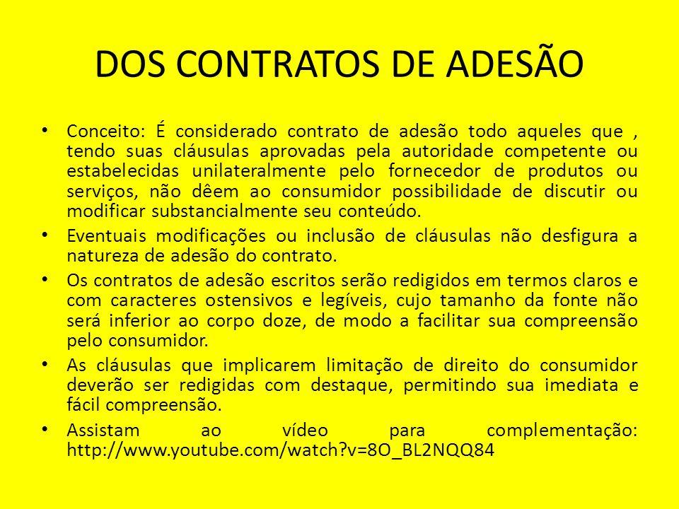 DOS CONTRATOS DE ADESÃO