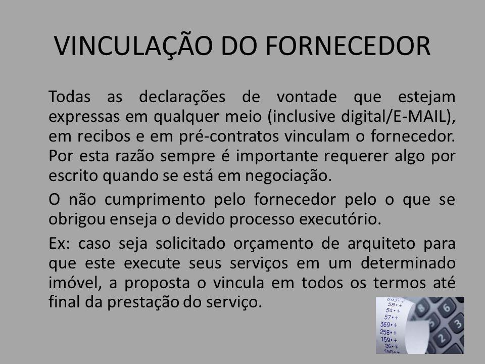 VINCULAÇÃO DO FORNECEDOR