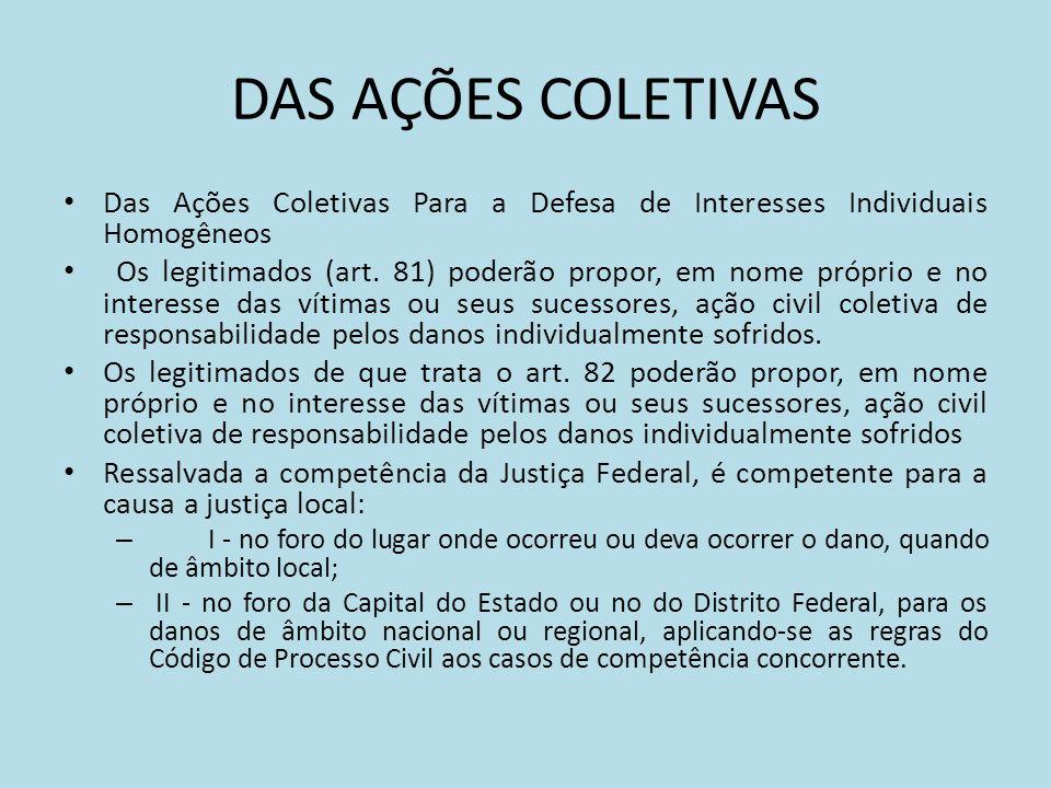 DAS AÇÕES COLETIVAS Das Ações Coletivas Para a Defesa de Interesses Individuais Homogêneos.