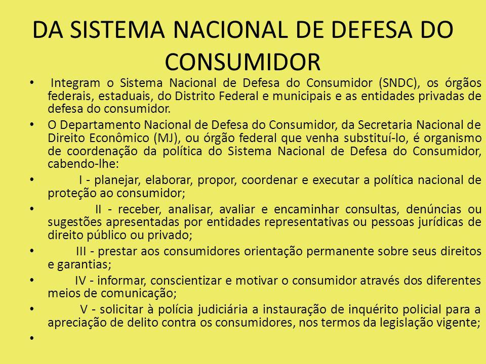 DA SISTEMA NACIONAL DE DEFESA DO CONSUMIDOR