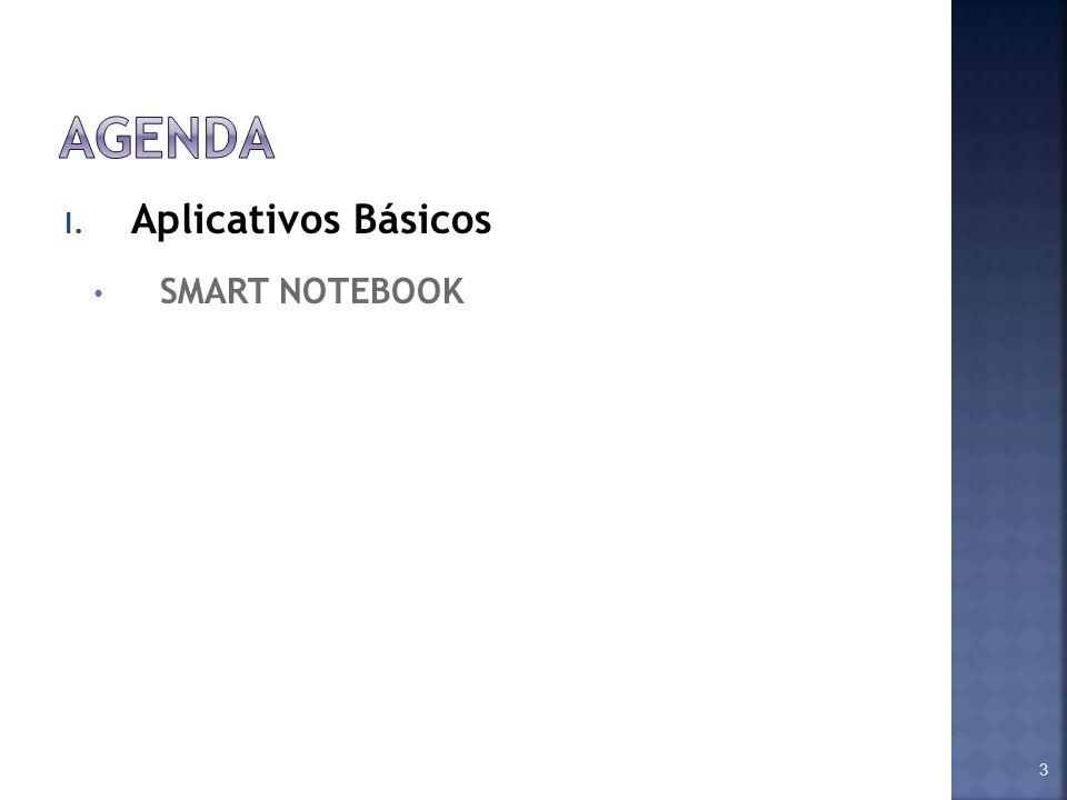 Agenda Aplicativos Básicos SMART NOTEBOOK Assuntos a serem abordados: