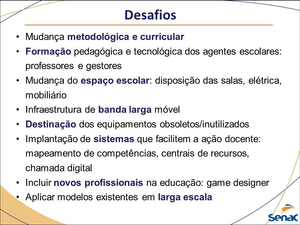 Desafios Mudança metodológica e curricular