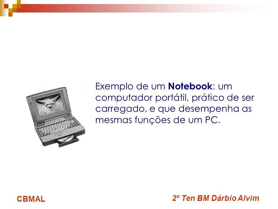 Exemplo de um Notebook: um computador portátil, prático de ser carregado, e que desempenha as mesmas funções de um PC.