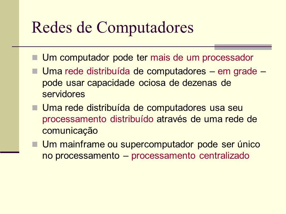 Redes de Computadores Um computador pode ter mais de um processador