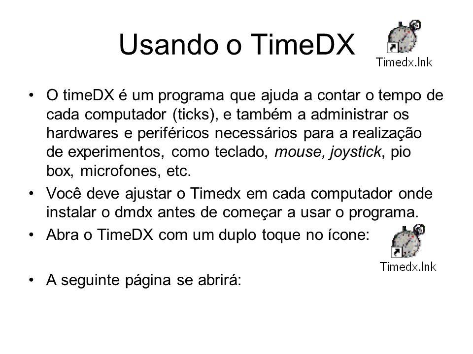 Usando o TimeDX