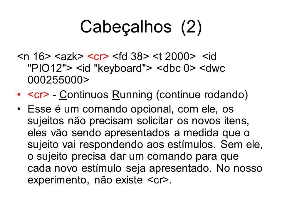 Cabeçalhos (2) <n 16> <azk> <cr> <fd 38> <t 2000> <id PIO12 > <id keyboard > <dbc 0> <dwc 000255000>