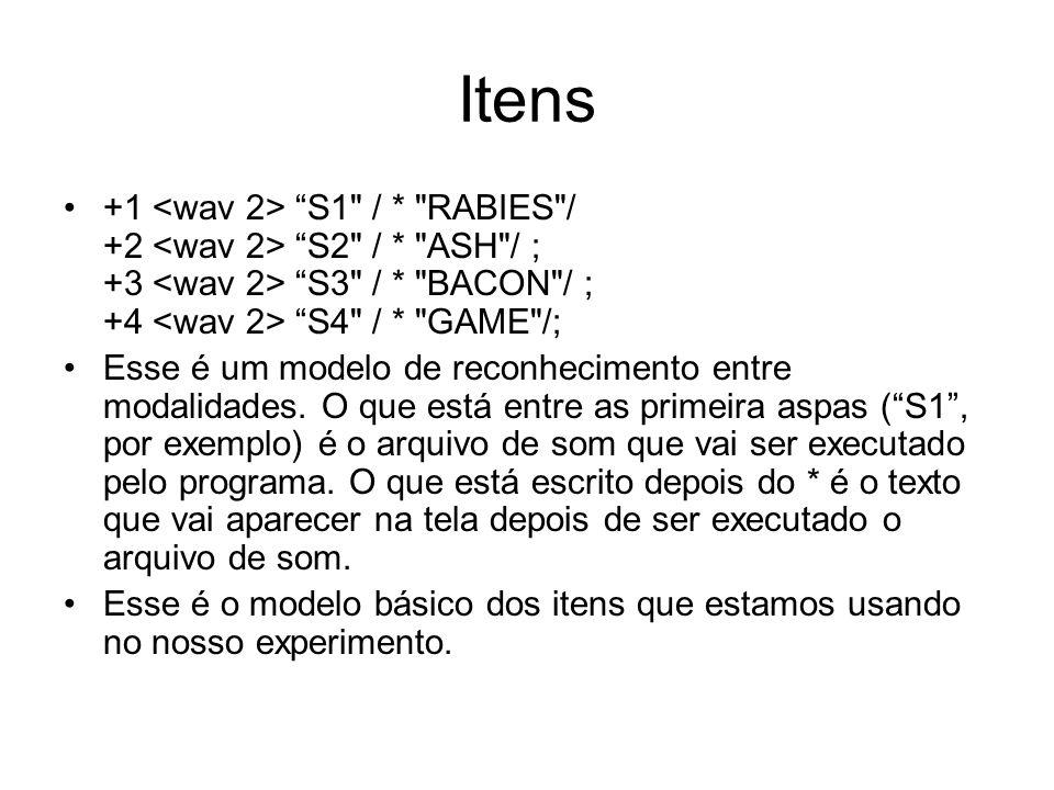 Itens +1 <wav 2> S1 / * RABIES / +2 <wav 2> S2 / * ASH / ; +3 <wav 2> S3 / * BACON / ; +4 <wav 2> S4 / * GAME /;
