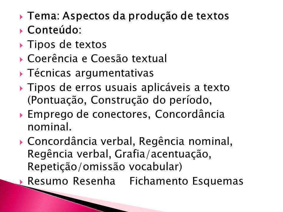 Tema: Aspectos da produção de textos
