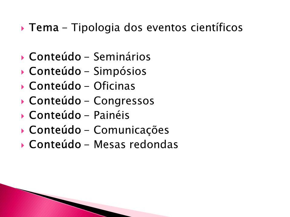 Tema - Tipologia dos eventos científicos