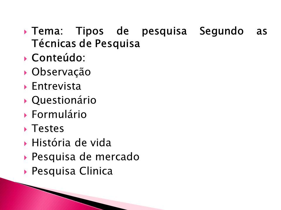 Tema: Tipos de pesquisa Segundo as Técnicas de Pesquisa