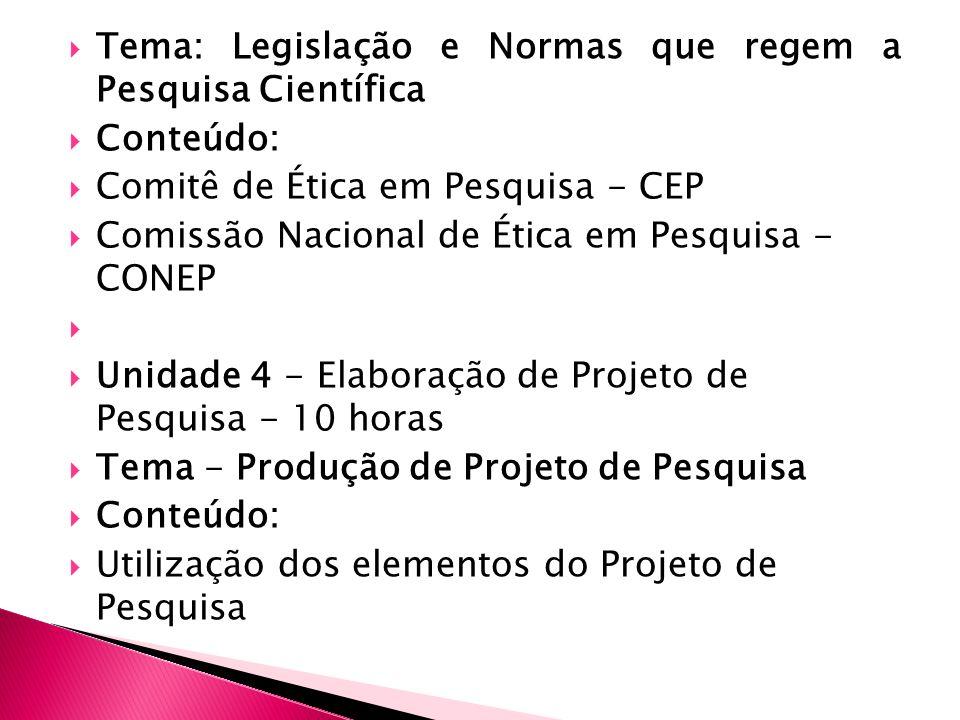 Tema: Legislação e Normas que regem a Pesquisa Científica