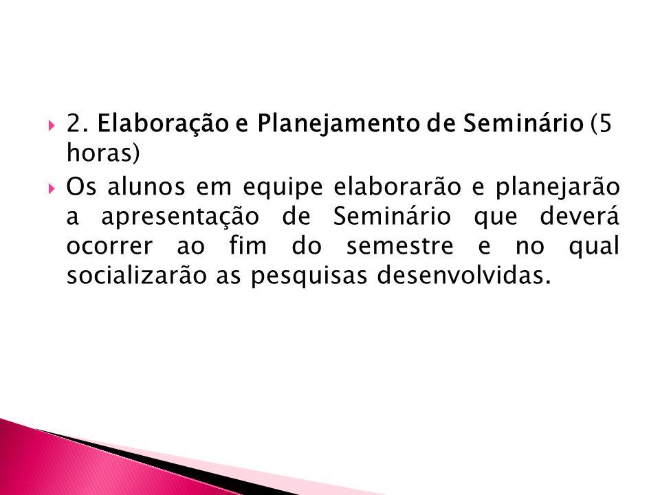 2. Elaboração e Planejamento de Seminário (5 horas)