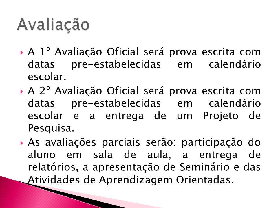 Avaliação A 1º Avaliação Oficial será prova escrita com datas pre-estabelecidas em calendário escolar.