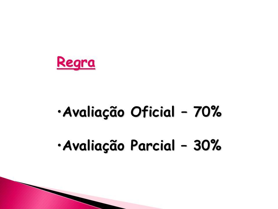 Regra Avaliação Oficial – 70% Avaliação Parcial – 30%