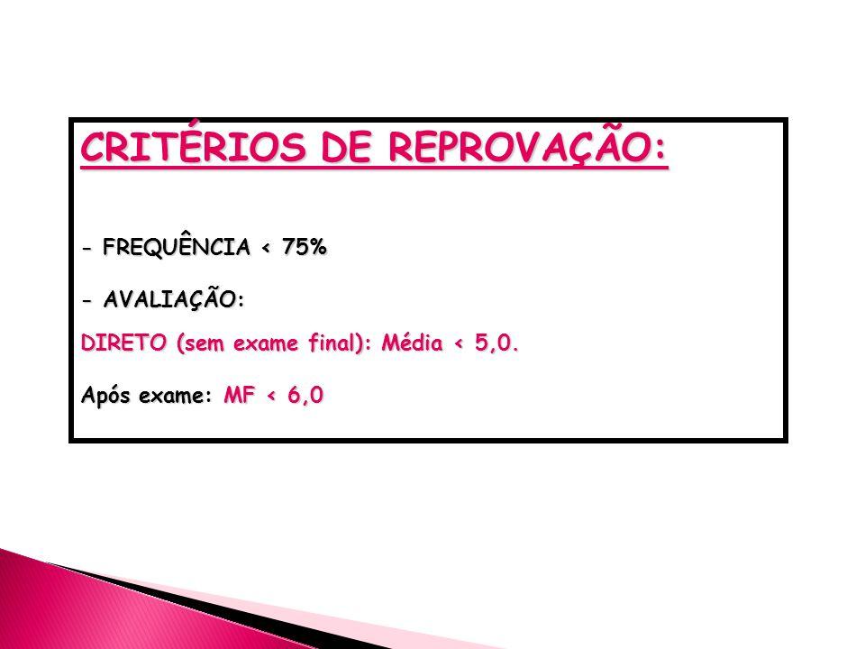 CRITÉRIOS DE REPROVAÇÃO: