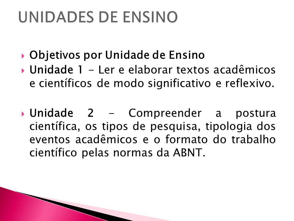 UNIDADES DE ENSINO Objetivos por Unidade de Ensino